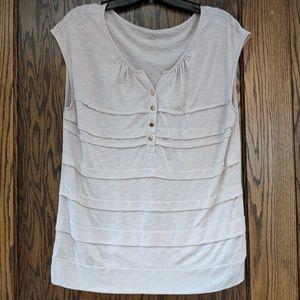 LOFT M cotton tan blouse, top gold buttons